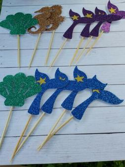 Glittered Mermaid Cupcake Toppers 24ct