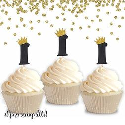 12 pc gold crown ONE cupcake topper wild one where the wild