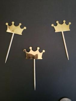 Handmade Gold Foil Crown Cupcake Toppers 12 Pc