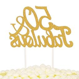 PALASASA Gold Glitter 50 & Fabulous Cake Topper, Wedding, Bi