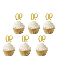 80th Gold Glitter Birthday Cupcake Toppers, Eightieth Annive