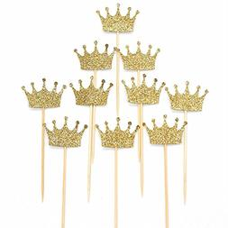JANOU Gold Glitter Crown Cake Cupcake Topper for Wedding Par