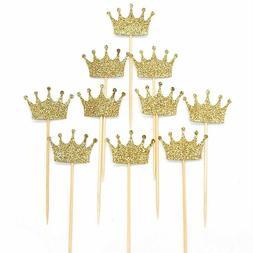 Janou Gold Glitter Crown Cake Cupcake Topper For Wedding Par