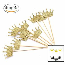 Gold Glitter Crown Cupcake Toppers Cake Decoration For F Siz