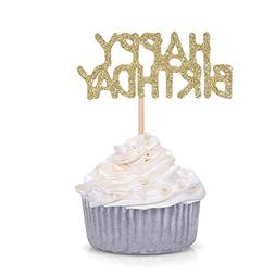 24 CT Gold Glitter Happy Birthday Cupcake Toppers Kid's Birt