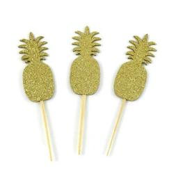 Gold Glitter Paper Pineapple Cupcake Toppers - Set of 12