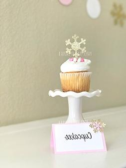 Gold Glitter Snowflake Cupcake Toppers. Winter Wonderland. B