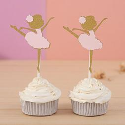 24 CT Gold and Pink Ballerina Cupcake Toppers - by Giuffi