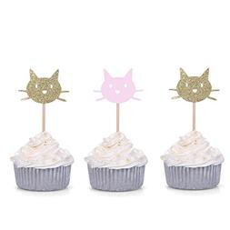 24 CT Gold and Pink Cat Cupcake Toppers - by Giuffi