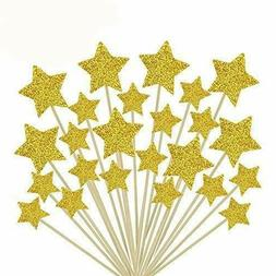 Jelacy 50 Pcs Gold Star Cupcake Toppers,Star Cupcake Toppers