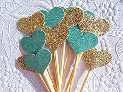 Gold Cupcake Toppers - Teal/Turquoise Cupcake Toppers - Hear