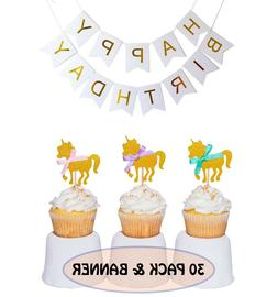 Gold Unicorn Cupcake Toppers + Happy Birthday Banner - Set o