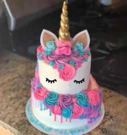 GOLD UNICORN HORN CAKE TOPPER Birthday Baby Shower  Decorati