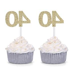 Giuffi Set of 24 Golden 40 Number Cupcake Toppers 40th Birth