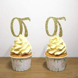 Set of 24 Golden Number 70 Cupcake Toppers 70th Birthday Cel