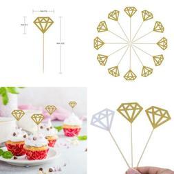 Mtlee 50 Pack Golden Glitter Diamond Cakes Toppers Cupcake D