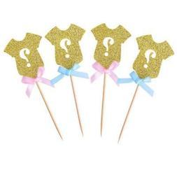 Golden Glitter Gender Reveal Cupcake Toppers, Gender Reveal