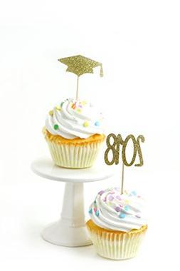 24 PC Pack 2018/Grad Hat Gold Glitter Cupcake Toothpick Topp