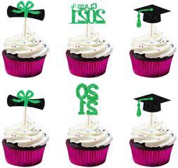 Graduation 2021 Cupcake Toppers, Green Glitter Class Of 2021