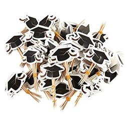 GRADUATION CAP GRAD HAT COCKTAIL PICKS CUPCAKE TOPPERS CAKE