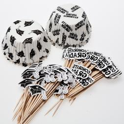 Fun Express Graduation Cupcake Liners And Wooden Picks With