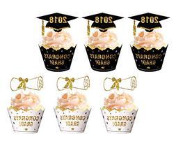 Graduation Cupcake Toppers Wrappers 2018 - Congrats Grad Par