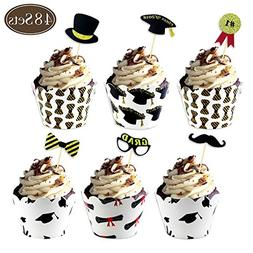 BAKHUK Graduation Cupcake Wrappers and cupcake toppers, Cong