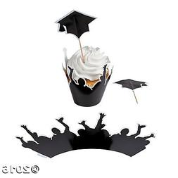Graduation Cupcake Wrappers with Picks, 100 pcs makes 50