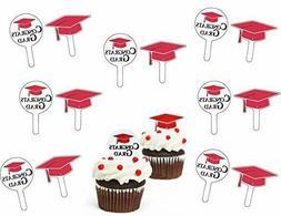 GRADUATION RED CUPCAKE PICKS Congrats Grad Party Decorations