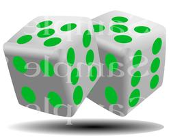 Green Casino Dice Birthday ~ Edible 2D Fondant Cake Cupcake