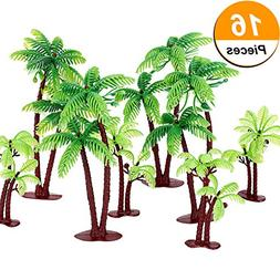 Jovitec 16 Pieces Green Palm Tree Cupcake Topper with Coconu