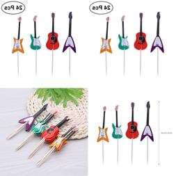 TINKSKY Guitar Cupcake Toppers Musical Instrument Shape Deco