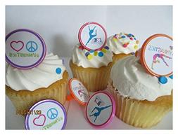 Gymnastics Peace Love Rings cupcake toppers - set of 12 - bi