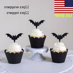 Halloween 24 Pcs Black Bat Paper Cupcake Wrappers Toppers Pa