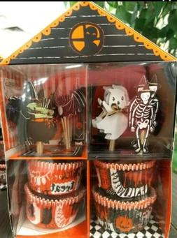MERI MERI HALLOWEEN Cupcake Kit 24 Cases and Toppers Ghost W