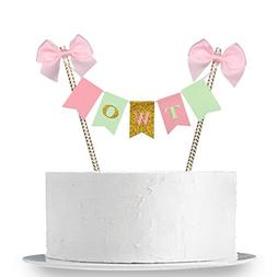 INNORU Handmade 2nd Two Birthday Cake Topper Gold Glitter Le