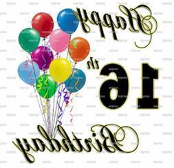 Happy 16th Birthday ~ Edible 2D Fondant Cake Cupcake Topper