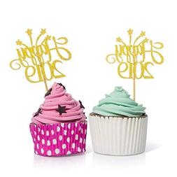 Happy 2019 Cupcake Toppers Gold - 50PCS New Years Eve Decora