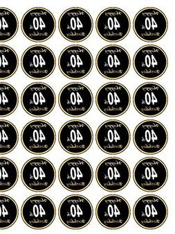 "Happy 40th Birthday Black / Gold 30 x 1.3"" Icing cupcake top"