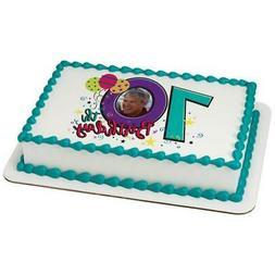 Happy 70th Birthday ~ Edible 2D Fondant Cake Photo Frame Top