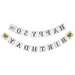Happy 50TH Birthday Banner - Gold Glitter Heart for 50Years
