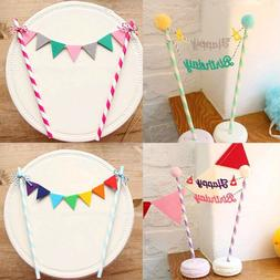 Happy Birthday Cake Cupcake Bunting Banner Flags Food Topper