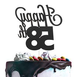 58th Happy Birthday Cake Topper Premium Double Sided Black G