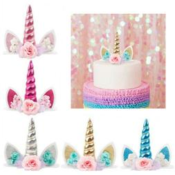 Unicorn Horn Cake Topper Kids Baby Shower Birthday Party Dec
