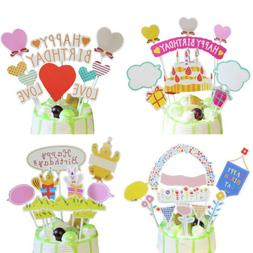 Happy Birthday Cupcake Topper Cake Flags Baby Shower Kids Pa