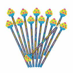 happy birthday pencils with cupcake eraser toppers