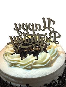 HAPPY BIRTHDAY Wooden Cake Topper - Celebration Cupcakes Dec