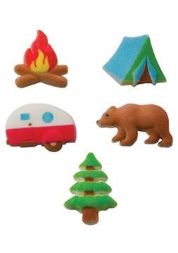 """24pk Happy Camper Camping 1 1/4"""" Edible Sugar Decoration Top"""