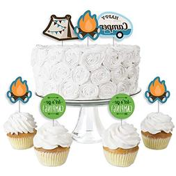Happy Camper - Dessert Cupcake Toppers - Camping Baby Shower