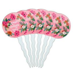 Happy Mother's Day Mom with Flowers Cupcake Picks Toppers De